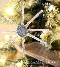 rustic compass star snowflake ornament dandelion patina