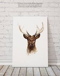 deer head painting watercolor art print brown home decor
