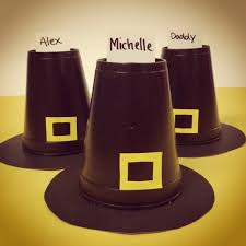 thanksgiving craft for pilgrim hat place cards