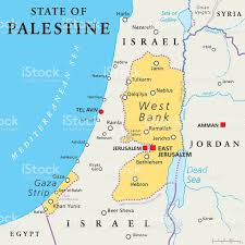 Political Map Of The Middle East by State Of Palestine West Bank And Gaza Strip Political Map Stock