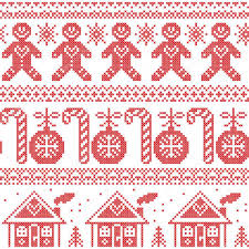 scandinavian nordic seamless pattern with ginger bread man candy