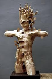 Sculpture En Bois D Olivier Une Magnifique Sculpture De Bois Pixellisée Par Hsu Tung Han