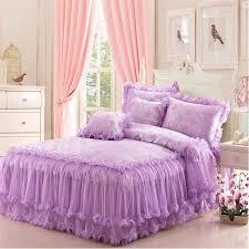 Purple Ruffle Comforter Lace Jacquard Tribute Silk Ruffles Comforter Duvet Cover 4pcs