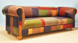 Chesterfield Patchwork Sofa Patchwork Brown Leather Sofa Ezhandui