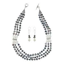 freshwater pearl necklace set images Efystore white and black freshwater pearl necklace set jpg