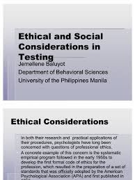 Counseling Code Of Ethics Philippines Ethical And Social Considerations In Testing Psychological