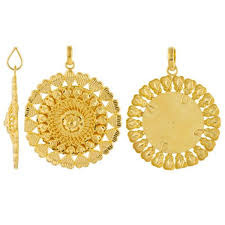 round gold necklace pendant images 22ct yellow gold ladies heavy pendant fancy design round shape jpg