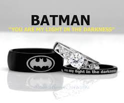 batman wedding ring batman his and s 3piece silver custom engagement set tungsten