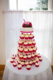 Cerise Pink And Cream Celebration Tiered Wedding Cupcakes Berkshire