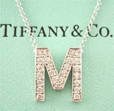 necklace letter pendants images Tiffany co platinum diamond letter m pendant necklace jpg