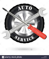 car service car auto service logo with screwdriver and wrench stock vector art