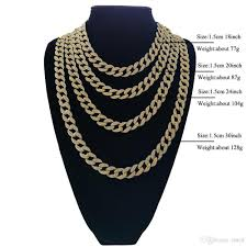 necklace size men images 2018 full diamond cuban necklace 18inch 20inch 24inch 30inch bling jpg