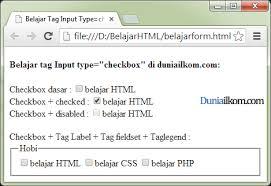 membuat form input menggunakan html fungsi dan cara penggunaan tag input type checkbox form html