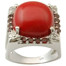 red silver rings images Red synthetic coral silver ring khalis chandi ke chhalle jpg