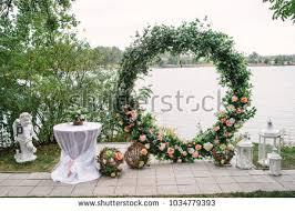 wedding arch greenery beautiful wedding arch decorated flowers stock photo