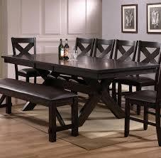 mark 8 piece rectangular trestle dining set in brown