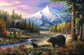 rustic cabin landscape canvas art print