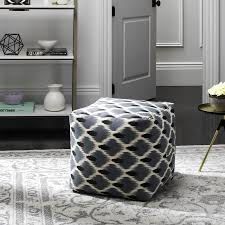 blue and white ottoman shop safavieh pierre casual blue white ottoman at lowes com