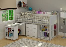 Modern Bunk Bed With Desk Bedroom White Solid Wood Loft Bunk Bed With Sliding Desk And