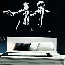 popular wall murals art buy cheap wall murals art lots from china pulp fiction xtra large bedroom wall mural art sticker graphic decal matt vinyl black wall sticker