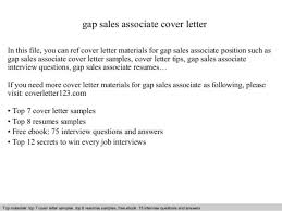 Cover Letter For Sales Associate Position Gap Sales Associate Cover Letter