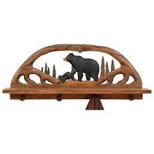 black bear wood shelf coat rack