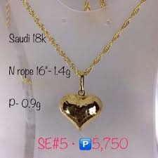 gold necklace with heart images Authentic 18k saudi gold 1 4g heart pendant necklace preloved jpg