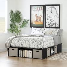 Oak Platform Bed South Shore Black Oak Size Platform Bed With Storage