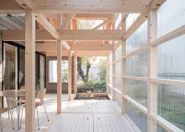 Japanese Interior Architecture by Corrugated Plastic Surrounds A Sunroom At One End Of This Timber