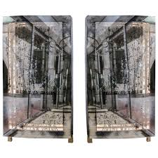mirror room divider unusual pair of illuminated mirrors with etched glass for sale at