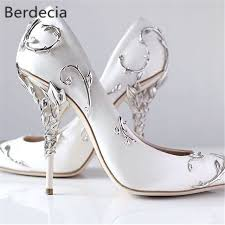 wedding shoes heels ornamental filigree leaves spiralling naturally up heel white