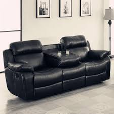 Black Leather Sofa Recliner Real Leather Reclining Sofa With Cupholders Black