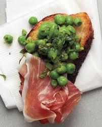 minted pea and prosciutto crostini martha stewart living the