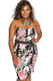 womens clothing dresses black floral print strapless plus size