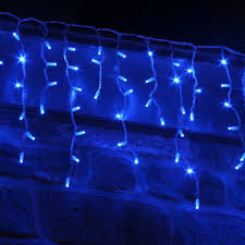 blue christmas lights in bedroom