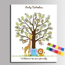 baby shower fingerprint tree diy fingerprint tree signature canvas painting animal family for