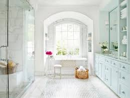 White Bathroom In Victorian Style With Light Blue Cabinets On - Elegant white cabinet bathroom ideas house