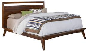 Bed Frame With Wood Legs Furniture Brown Wooden Platform Bed With Lamp Table On Cream