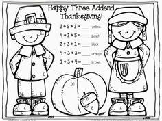 thanksgiving color by number simple addition free can change