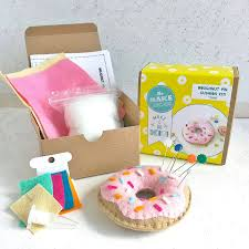 doughnut pin cushion craft kit by the make arcade