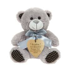 flower girl teddy gift grey teddy with personalised wooden heart shaped tag a great