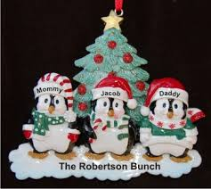 3 winter penguins family personalized ornaments