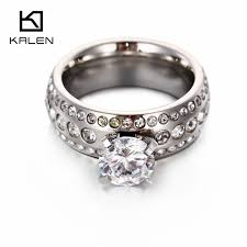 glass wedding rings kalen new silver color rings stainless steel zircon glass women