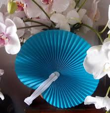 cheap paper fans 9 turquoise folding accordion paper fan for weddings