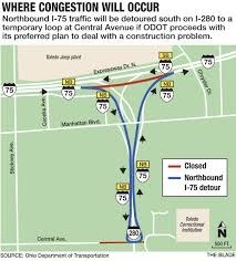 Bowling Green Ohio Map by I 75 Closing At I 280 Slated For 7 Months The Blade