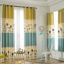 Yellow Nursery Curtains Yellow And Blue Color Block Print Poly Cotton Blend Nursery Curtains