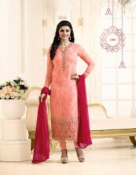 peach color aadya couture peach color georgette emroidered semistitched suits