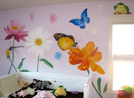 children s murals flower mural with butterflies insect and frog acrylic paint