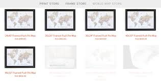 Map Store Detailed Info How To Order A Framed Push Pin Map From Artisan