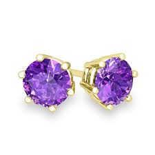 amethyst stud earrings amethyst stud earrings in 18k gold 6 prong studs 5mm